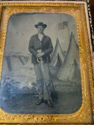 Civil War Era 1/4 Plate Tintype Of Union Cavalryman With Sword Mother Of Pearl