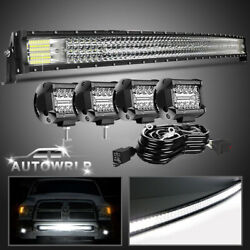 Curved 42inch Led Work Light Bar Spot Flood Combo Driving Lamp Offroad + 4 Pods
