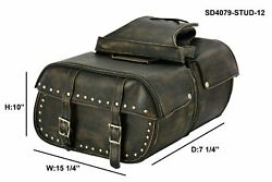 Brown Leather Conceal Carry Saddlebags With Studs Throw Over Bags Universal Fit $199.00