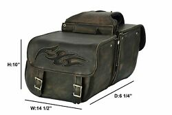 Brown Leather Concealed Carry Saddlebag With Flame Universal Fit Throw Over Bags $199.00