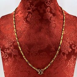 24k Solid Yellow Gold Barrel Link Chain 13.7 Grams