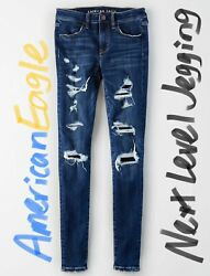 Nwt American Eagle Next Level Jegging Jeans Distressed Ripped 2xs 2 Extra Short