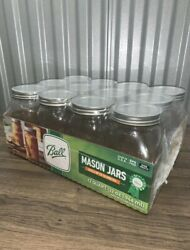 Ball 12pk 32oz Wide Mouth Quart Canning Mason Jars, Lids And Bands Clear Glass