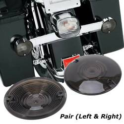 2pc Motorcycle Smoked Lens Turn Signal Light Flat Lens Covers For Harley Touring