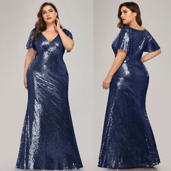 Ever pretty US Sequins Gold Evening Gowns Formal Plus Size Bridesmaid Dresses $47.99