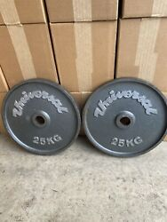 350kg 14 Vintage Universal Deep Dish 25kg 55lb Olympic Weight Plates Rare