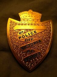 Victoria Police Department Retired Wallet Badge B.c. Canada Obsolete Vicpd 1930s