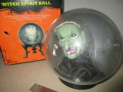 Halloween Prop Animated Spell Casting Floating Hag Witch Head Spirit Globe/ball