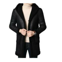 Menand039s Trench Coat Fur Clothes Jacket Parka Overcoat Cashmere Outwear Winter L