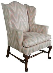 Vintage Southwood Queen Anne Mahogany Wingback Arm Chair Club Library George Ii