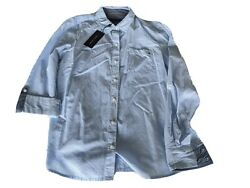 Tommy Hilfiger womens button down shirt. NWT Small. Long sleeves. White and blue $16.60