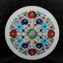 White Marble Plate Carnelian Lapis Floral Inlay Art Collectible Wall Decor E1379