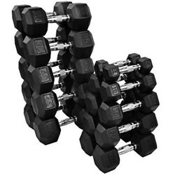 New Fray Fitness Rubber Hex Dumbbells Select-weight 1015 20 25 30 35 40lb
