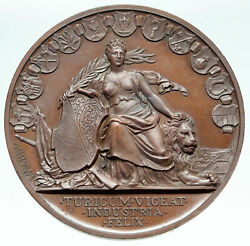 1768 Switzerland Swiss Canton Zurich Shooting Festival Woman And Lion Medal I86545
