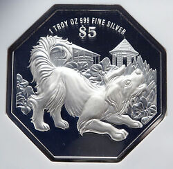 2018 Singapore Lunar Series Astrology - Dog Year Proof Silver 5 Coin Ngc I86644
