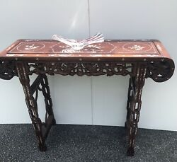 """1940s Vintage """"chinese Wooden Altar"""" Table W/ Pearl Inlay"""