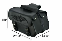 Black Leather Concealed Carry Saddlebag With Flame Universal Fit Throw Over Bags $179.99