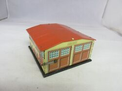 Vintage Western Germany Tin Garage Building W/ 2 Cars Toy Exc Cond  381-