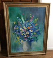 Irma Wallem Floral Display In Vase Signed Canvas Oil Painting 46 X 36 Sonoma