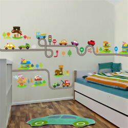 Cartoon Cars Highway Track Removable Wall Stickers for Kids Bedrooms Wall Art