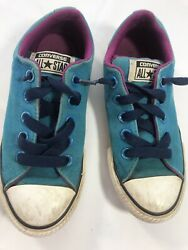 Converse All Star Kids Youth Junior Size 13.5 Blue Pink Canvas Sneakers Shoes $15.98