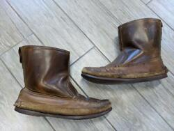 1960s Vintage Bass Moccasin Boots 10 M Brown Shearling Lined Gokey Russell