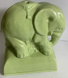 """Ceramic Elephant Figurine Collectible Bookend Modern-vintage Rare Green 10"""""""