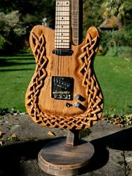 Telecaster Electric Guitar Celtic Knot Hand Carved In Spalted Ash