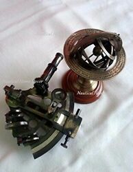 Antique Brass Sextant And Sphere Astrolabe Armillary Globe Decore Handmade Gift