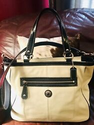 COACH Large Leather Ivory amp; Navy Tote Bag Satchel No. M1020 F14887 quot;LAURAquot; $98.00