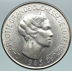 1963 Luxembourg Dutchess Charlotte John The Blind Silver 100 Francs Coin I86775