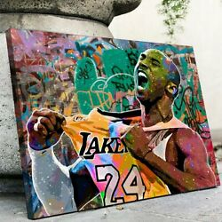 Kobe Bryant Portrait Vintage Style Wall Art Printed On Wrapped Canvas Framed