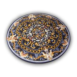 42and039and039 Round Marble Top Dinner Table Pietradura Rare Inlay Kitchen Home Decor B431
