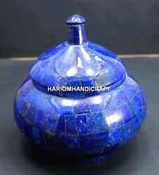 6'' Random Lapis Marble Home Occasion Gifts Trinket Box Mosaic Real Inlaid Decor