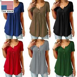 Women Pleated Button Blouse Ladies Casual T Shirt Loose Casual Tops Basic Tee US $7.16