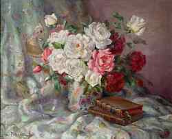 Vintage French Still Life Roses With Chinoiserie Oriental Bird Fabric Signed Oil