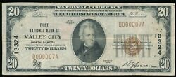 1929 Type 1 20 National First Nb, Valley City, Nd Ch 13324 2nd Title - Rare