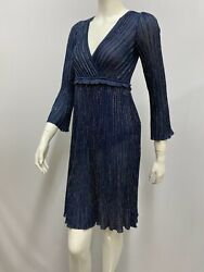Missoni Metallic Pleated Dress Navy Sexy Cross Over Front Style Size 38 Xs