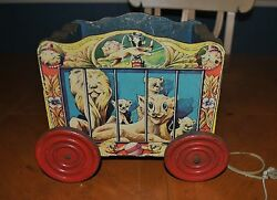 The Gong Bell Co. Very Rare Pull Toy Lions Circus Wagon Still Rolls Great
