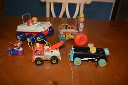 Fisher Price Pull Toy Lot New Bouncing Buggy, Tractor 629, Race Car, Tow Truck