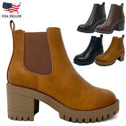 New Womenand039s Lug Sole Mid Chunky Block Heel Fashion Elastic Chelsea Ankle Bootie
