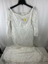 Yissang Women#x27;s Off Shoulder Floral Sequined Sparkle Party Evening White XL $49.99
