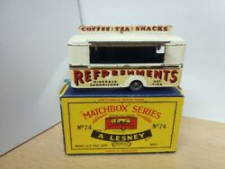 P48-rare Matchbox Lesney No74a Mobile Refreshments Canteen And Box.white Body