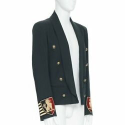 New Balmain Green Cotton Blend Military Crest Badge Double Breasted Jacket Eu50