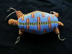 Vintage Native American Beaded Leather Fetish, Lizard Amulet, Sd-1020d-293