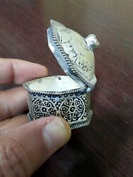 Antique Vintage Moroccan Jewelry Box In Sterling Silver Handmade Arabic Sets