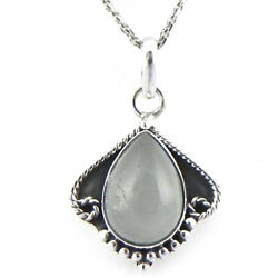 Solid 925 Sterling Silver Rainbow Moonstone Pendant Necklace Women Psv-1763