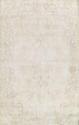 Antique Muted Kirman Handmade Area Rug Floral Oriental Distressed Carpet 10and039x13and039