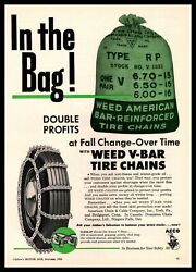 1955 Weed V-barr Tire Chains American Chain And Cable Co. York Pa Vintage Print Ad