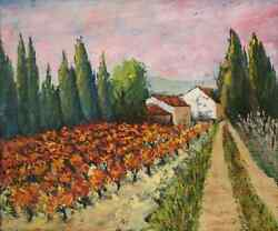 Autumn Vineyard In Provence Cypress Trees And Provencal House Oil Painting